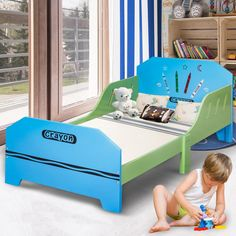 Crayon Themed Wood Kids Bed with Bed Rails