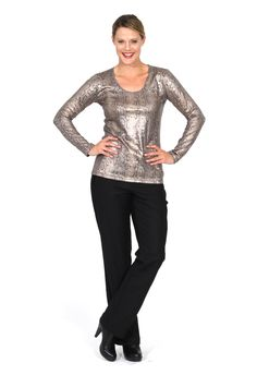 Redhead Office - Snake Print Top. This top is designed in a gorgeous snake print embossed fabric. It is an ideal top for highlighting colours under suiting. The metallic knit contrasts well under suiting jackets and gives a clean unique and strong look.