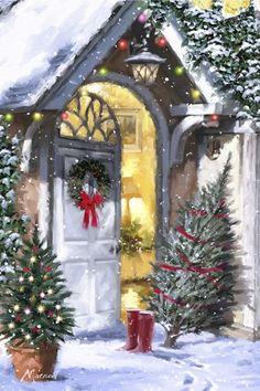 White Door 2 by The Macneil Studio - Weihnachten Christmas Scenes, Christmas Mood, Noel Christmas, Victorian Christmas, Vintage Christmas Cards, Christmas Pictures, Christmas Lights, Christmas Decorations, Christmas Artwork