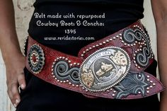 Western belt made with repurposed cowboy boots and hand dyed embossed leather. Handmade by the girls at Re-Ride Stories