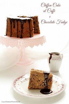 CHIFFON CAKE AL CAFFE' E CIOCCOLATO   Cucchiaio e pentolone Hot Fudge Sauce, Angel Cake, Chiffon Cake, Chocolate Fudge, Vanilla Cake, Cakes, Sweet Dreams, Salsa, Desserts