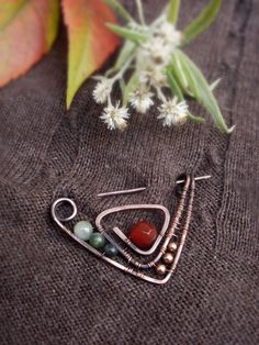 Closure Shawl Pin - Closure brooch - Scarf Pin - hat Pin - Copper pin - Wire wrappped pin