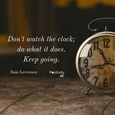 Don't watch the clock; do what it does. Keep going. #SamLevenson #positivitynote #upliftingyourspirit