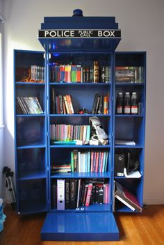 TARDIS bookcase. I have a feeling that one day my home will be Doctor Who themed.