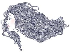 Woman's profile with long beautiful hair Royalty Free Stock Vector Art Illustration