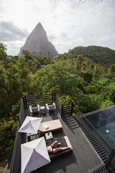 The pool deck of Hotel Chocolat's Boucan Restaurant was a serene view of Petit Piton for Juan Pablo to do some more thinking.  | The Bachelor | St. Lucia