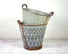 Vintage Large Metal Olive Basket / Industrial by havenvintage - use old fishing pale for garbage can