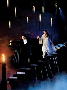Earl Carpenter and Katie Hall in the UK Tour of Phantom of the Opera. I secretly love the Hogwarts candles.