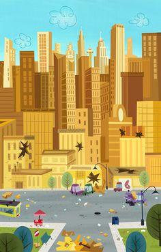 Cartoon Concept Design: Powerpuff Girls painted Backgrounds