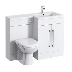 Valencia Bathroom Combination Suite Unit with Basin & Round Toilet - 1100mm Feature Large Image