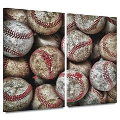 'Baseballs' by David Liam Kyle 2 Piece Photographic Print Gallery-Wrapped on Canvas Set
