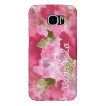 Your Name Cute Pretty Pink Spring Floral Pattern Samsung Galaxy S6 Cases