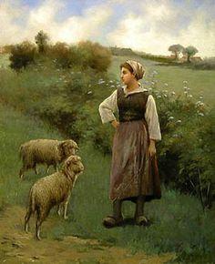 Edouard Bernard Debat-Ponsan (1847-1913) The Shepherdess, circa 1890