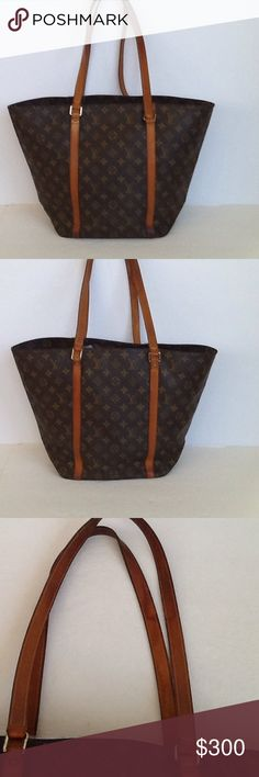 Authentic Louis Vuitton Sac Shopping Monogram Tote The leather and straps showed signs of used. The bag was made in France. The dimension is 13, 16 and 6. Some stains are inside the bag. The date code couldn't be read. The bag is large size. Louis Vuitton Bags Totes