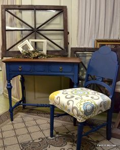 Desk and chair in Napoleonic Blue with both Clear Soft Wax and Dark Soft Wax with Chalk Pain® decorative paint by Annie Sloan. Artistry by Paint in My Hair.
