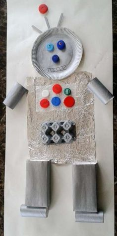 Junk art robot made out of recycled junk! Recycled Art Projects, Projects For Kids, Crafts For Kids, Recycled Crafts, Junk Art, Robots For Kids, Art For Kids, Art Children, Junk Modelling