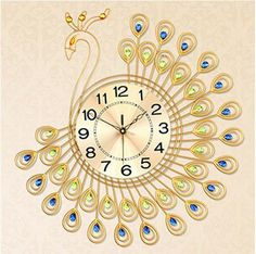 Large peacock crystal wall clock. Top quality! Eye-catching! There are many other styles in our company. Contact us: CJQ057989911607@outlook.com