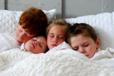 Christmas photo idea: The children were all nestled snug in their bed
