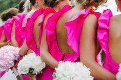 cute hot pink bridesmaids dresses