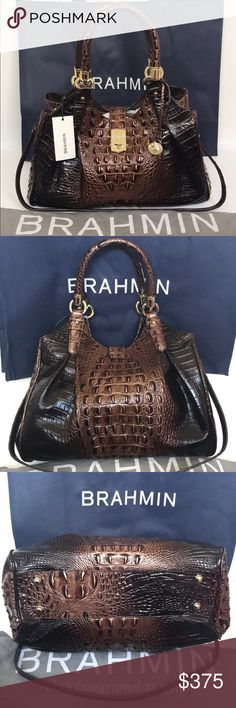 """BRAHMIN Elisa Brunello Melbourne Guaranteed Authentic! Brahmin Elisa Brunello Melbourne. Includes dust bag and shopping bag! Croc embossed leather. Gold tone hardware. Turn lock closure. Center divider, 2 zip pockets, 2 organizer pockets, key clip and pen loops inside. Bottom feet outside. Double roll handles with 8.5"""" drop, and adjustable strap with 14.5"""" drop. Measurements: 13.5""""L x 11.5""""H x 6.5""""W. Item will be videotaped prior to shipping to ensure proof of condition. Brahmin Bags Hobos"""