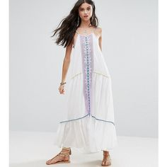 White Cove Petite Embroidered Mirror Detail Maxi Dress With Tassel... (66 AUD) ❤ liked on Polyvore featuring dresses, multi, petite, vintage style dresses, embroidery dresses, embroidery maxi dress, petite length maxi dresses and tall maxi dresses