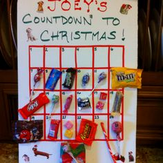 Kids Christmas countdown! Great way to use up unwanted/leftover Halloween candy!