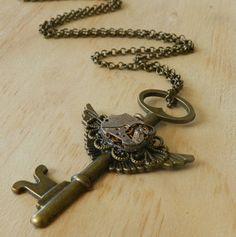 Image of Steampunk Vintage Winged Key Necklace Key Necklace, Necklaces, Single Women, Steampunk, Image, Collar Necklace, Wedding Necklaces, Skeleton Key Necklace