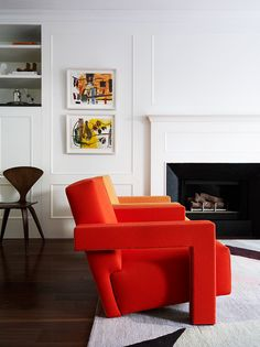 The Utrecht chair upholstered in vivid red and orange wool felt, New york Apartment by Arent&Pyke. | art colorful interiors
