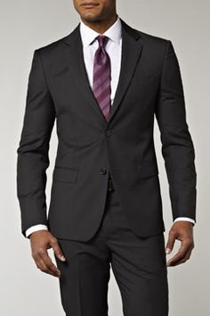 CK Charcoal Fil a Fil Suit from Moss Bros