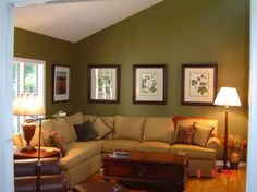 Lovely olive colour but because it is with a yellow beige sofa it all looks a bit drab. Would look better with a dark navy sofa or lighter linen. Living Room Green, Paint Colors For Living Room, Small Living Rooms, Cozy Living, Home Living Room, Living Room Decor, Navy Sofa, Beige Couch, Olive Colour