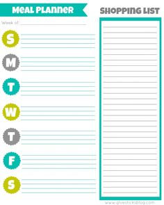 Free Printable Monthly Meal Plan  Free Printable Planners And Meals
