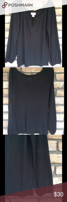 SALE 💞 Flattering Black Sweater I LOVE this Sweater...Sweater is long and light weight. Has long flown sleeves. And Sweaters length is so flattering. Throw on a pair of jeans and boots and Look Great. It does have a wide neckline, it doesn't fall off my shoulders but hugs the shoulders. It's just so flattering!! I did have it dry cleaned and just never wore it after!! LOFT Sweaters