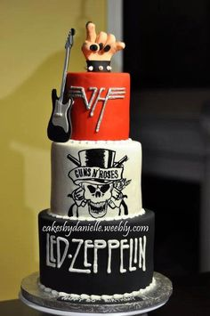 LESLIE - LOOK AT THIS CAKE! Maybe for your hubby's next bday...Just need to add Metallica. LOL ...#rock and roll cake