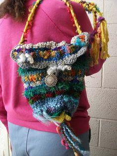 freeform crochet tibet inspired HAPPY KARMA by artistgretch123, $55.00