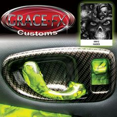 1999 FULLY Custom Chevy S-10 crazy amount of customization. Interior is all Hydro-Graphics pattern Hades over lime green base, with silver carbon accents. From Grace-FX Customs