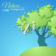 Green vector tree on blue paper background. There is place for text.