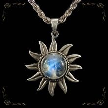 Fantastic Moonstone Sun Pendant 925 Sterling Silver Rope Chain Necklace from Tanya's Treasures on Ruby Lane