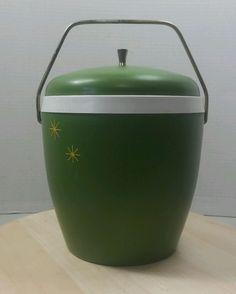 Vintage Atomic Avocado Green Star Burst Ice Bucket W/ Lid in Collectibles, Vintage, Retro, Mid-Century, Plastic | eBay