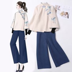 Antique Chinese clothing winter dress female China Wind women's clothing tang woman set two pieces set modified cheongsam coat tea suit Top
