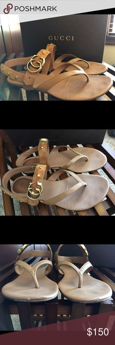 Gucci Thong Sandals Running G's - camel SZ 37.5 Gucci Thong Sandals Running G's - camel SZ 37.5 which equates to a US 7.5. These are authentic and all leather so they show wear to the boot bed and soles. There are a couple scuffs on the toe fronts but are not noticeable when wearing and does not affect wearing the sandals. Great bargain at a fraction of the price. Gucci Shoes Sandals