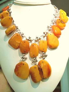 Vintage Baltic amber and silver necklace
