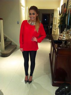 High Pony, Red Sweater, Leather Leggings, and Statement Necklace