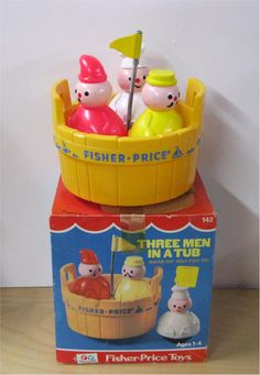 Three Men in a Tub. I can't even BEGIN to guess how many kids have played with this in the tub.nieces, nephews, my kids, grandkids.an old favorite Fisher Price Toys, Vintage Fisher Price, Baby Boy Toys, Toddler Toys, Retro Toys, Vintage Toys, Childhood Toys, Childhood Memories, How Many Kids