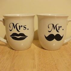 DIY Couples Mugs to be added to coffee maker, coffee and liquour etc. for wedding gift.