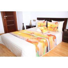 Oranžovo krémový prehoz s červenými ľaliami - domtextilu. Bed, Furniture, Design, Home Decor, Decoration Home, Stream Bed, Room Decor, Home Furnishings