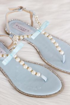0ea056649a6103 Women   Kids Wedding Pearl Sandals - T-Strap LT BLUE PATENT With Pearls and Rhinestones  sandal - For brides
