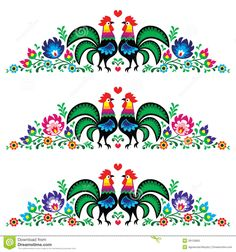 Polish floral embroidery pattern with roosters