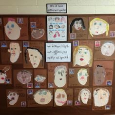 """Another gorgeous self portraits display from Mrs. Myers' Kindergarten - complete with the children's goals ("""",)"""