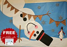 Elf on the Shelf Ideas –  Classroom Edition. Elf is a Snowman on a Bulletin Board. Also use this FREE Printable Snowman Elf Note. Do you wanna build a snowman?!