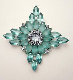 Gorgeous vintage blue navette frosted rhinestone brooch